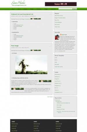 Green Hurdico Blogger Template [ blogspot themes ]