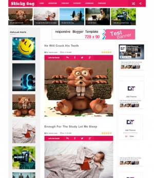 Sticky Gag Pink Responsive Blogger Template [ blogspot themes ]