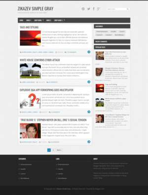 Zikazev Simple Gray Blogger Template [ blogspot themes ]