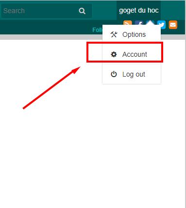 """Chọn mục """"Account"""""""